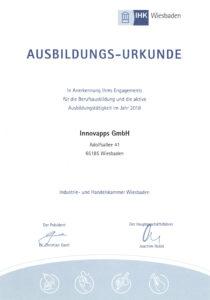 IHK Urkunde für Ausbildung bei Innovapps